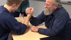 70-Year-Old Teacher Arm Wrestles Student